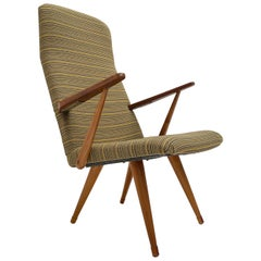 1950s Lounge Chair Bengt Akerblom Sweden, Birch Wood & New De Ploeg Upholstery