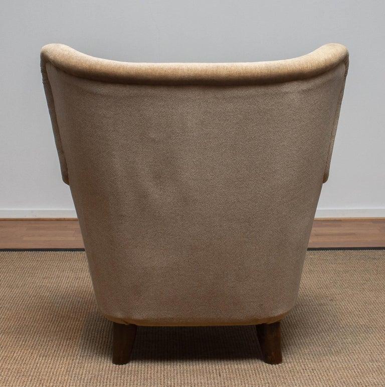 Fabric 1950s Lounge Easy Club Chair by Ilmari Lappalainen for Asko, Finland 1