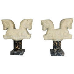 1950s Louvre Classical Greek 'Double Bull' Bookends on Marble Pedestal