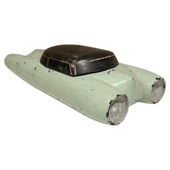 1950s Low Rider Cool Atomic Wood Toy Car in Fabulous Mint Green & Black