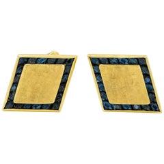 1950s Lucian Piccard Diamond Shaped Sapphire Yellow Gold Cufflinks