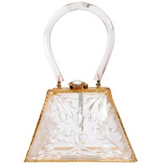 1950s Lucite Evening Bag with Brass Hardware