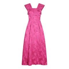 1950s Magenta Jacquard Print Floral Evening Dress
