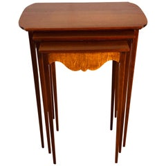 1950s Mahogany Nesting Tables with Tiger Maple Accent, Set of 3