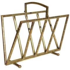1950s Maison Baguès Midcentury French Design Bamboo Brass Magazine Rack
