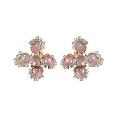 1950s Maison Gripoix for Chanel Pink Four Leaf Clover Earrings