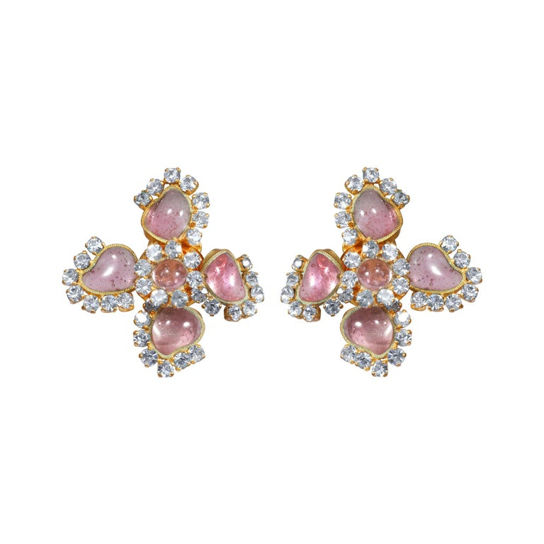 1950s Maison Gripoix for Chanel Pink Four Leaf Clover Earrings For Sale
