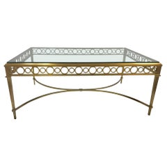 1950s Maison Jansen Bronze and Glass Coffee Table