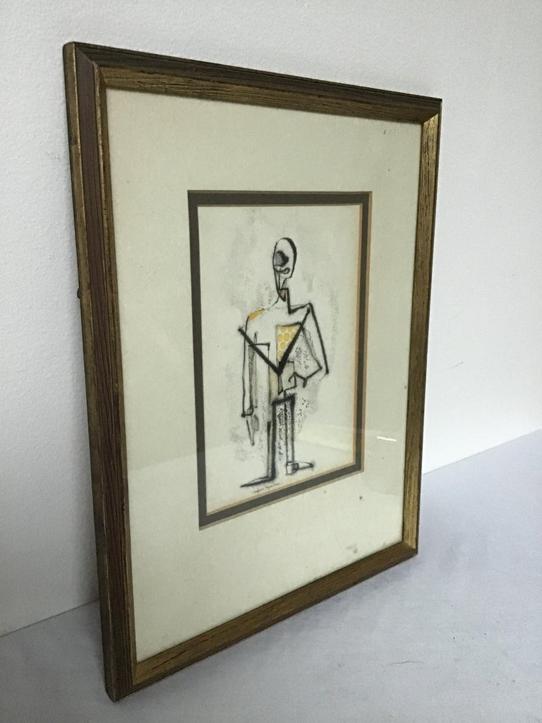 1950s Malcom Edgar Case Ink and Watercolor on Paper of a Man In Good Condition For Sale In Tarrytown, NY
