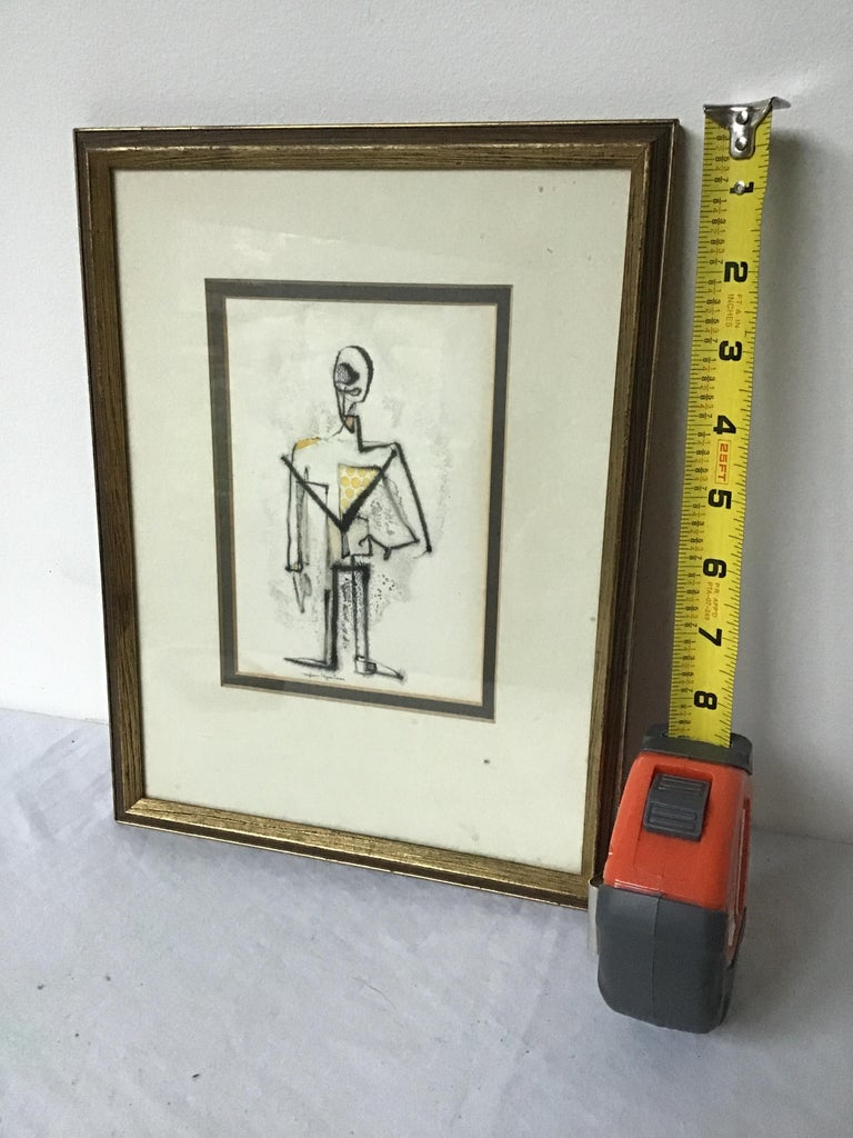 Mid-20th Century 1950s Malcom Edgar Case Ink and Watercolor on Paper of a Man For Sale