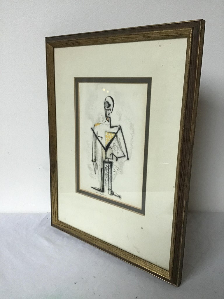 1950s Malcom Edgar Case Ink and Watercolor on Paper of a Man For Sale 3