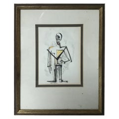 1950s Malcom Edgar Case Ink and Watercolor on Paper of a Man