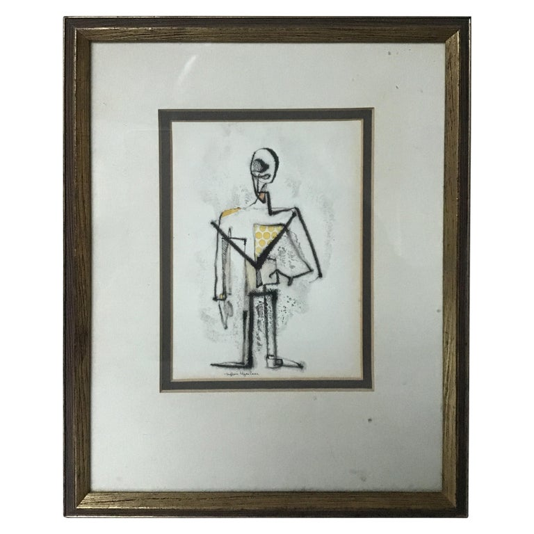1950s Malcom Edgar Case Ink and Watercolor on Paper of a Man For Sale