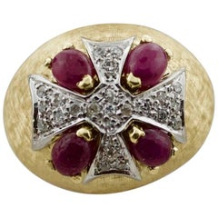 "1950s Maltese Cross Diamond and Ruby Ring in 18 Karat ""Live in Truth"""