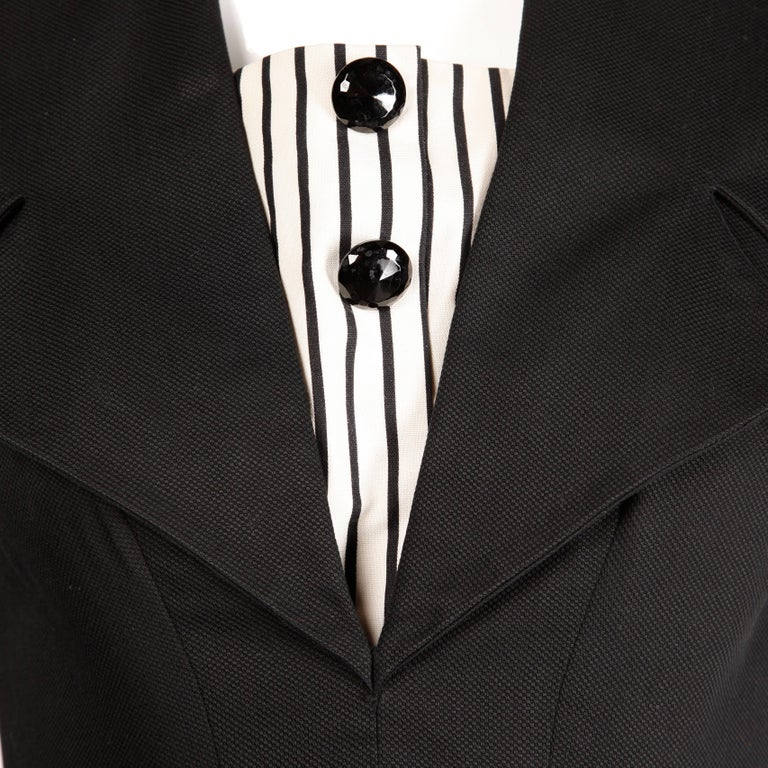 1950s Mam'selle Betty Carol Vintage Black Striped Tuxedo Wiggle Cocktail Dress In Excellent Condition For Sale In Sparks, NV