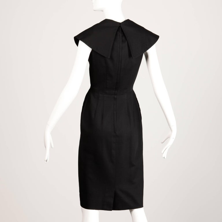 1950s Mam'selle Betty Carol Vintage Black Striped Tuxedo Wiggle Cocktail Dress For Sale 1