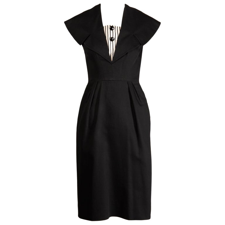 1950s Mam'selle Betty Carol Vintage Black Striped Tuxedo Wiggle Cocktail Dress For Sale