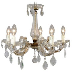 1950s Maria Theresa Glass Crystal Leaves 5-Light Glass Chandelier