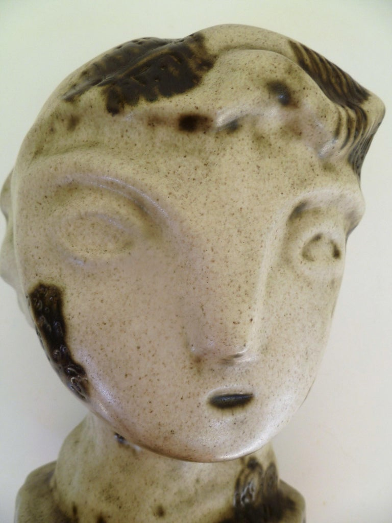 1950s Marianna von Allesch Midcentury Ceramic Pottery Head Sculpture For Sale 6