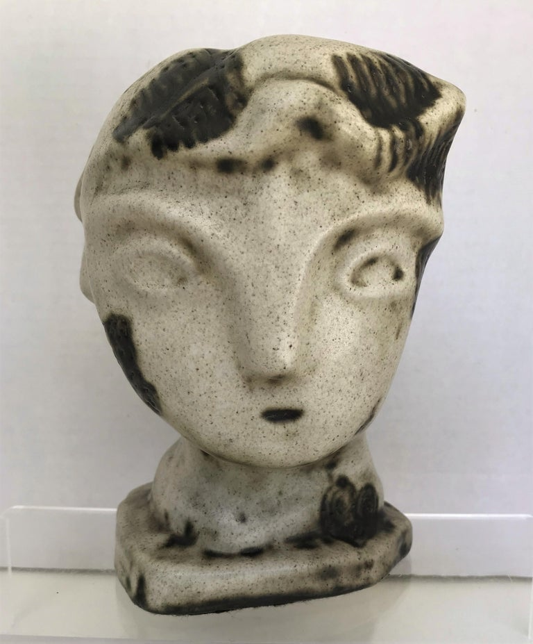 Mid-Century Modern 1950s Marianna von Allesch Midcentury Ceramic Pottery Head Sculpture For Sale