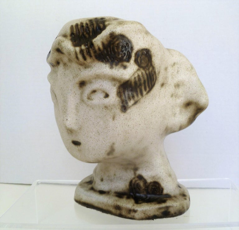 Glazed 1950s Marianna von Allesch Midcentury Ceramic Pottery Head Sculpture For Sale