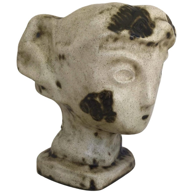 1950s Marianna von Allesch Midcentury Ceramic Pottery Head Sculpture For Sale