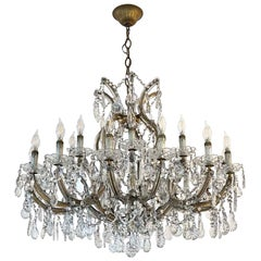 1950s Marie Therese Crystal Chandelier with 21 Arms of Substantial Size Antique