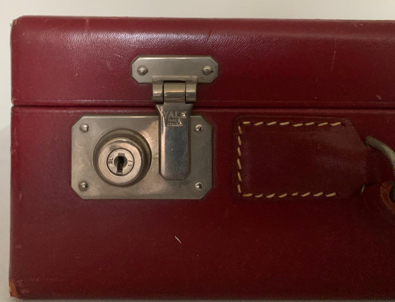 American 1950s Mark Cross Red Leather Suitcase For Sale