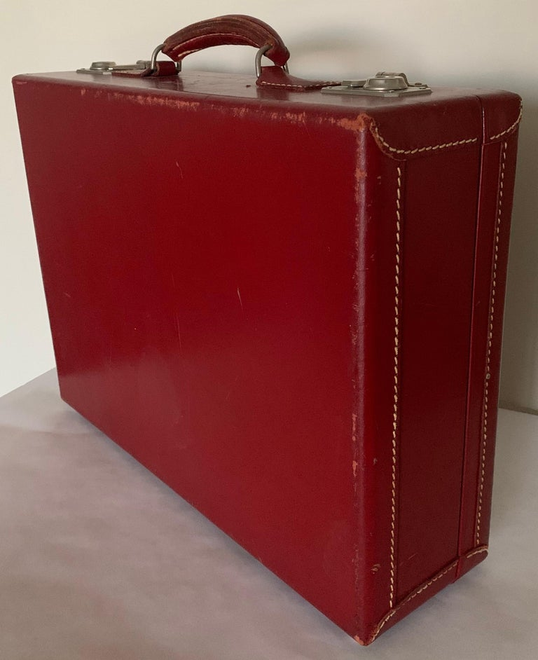 Fabric 1950s Mark Cross Red Leather Suitcase For Sale