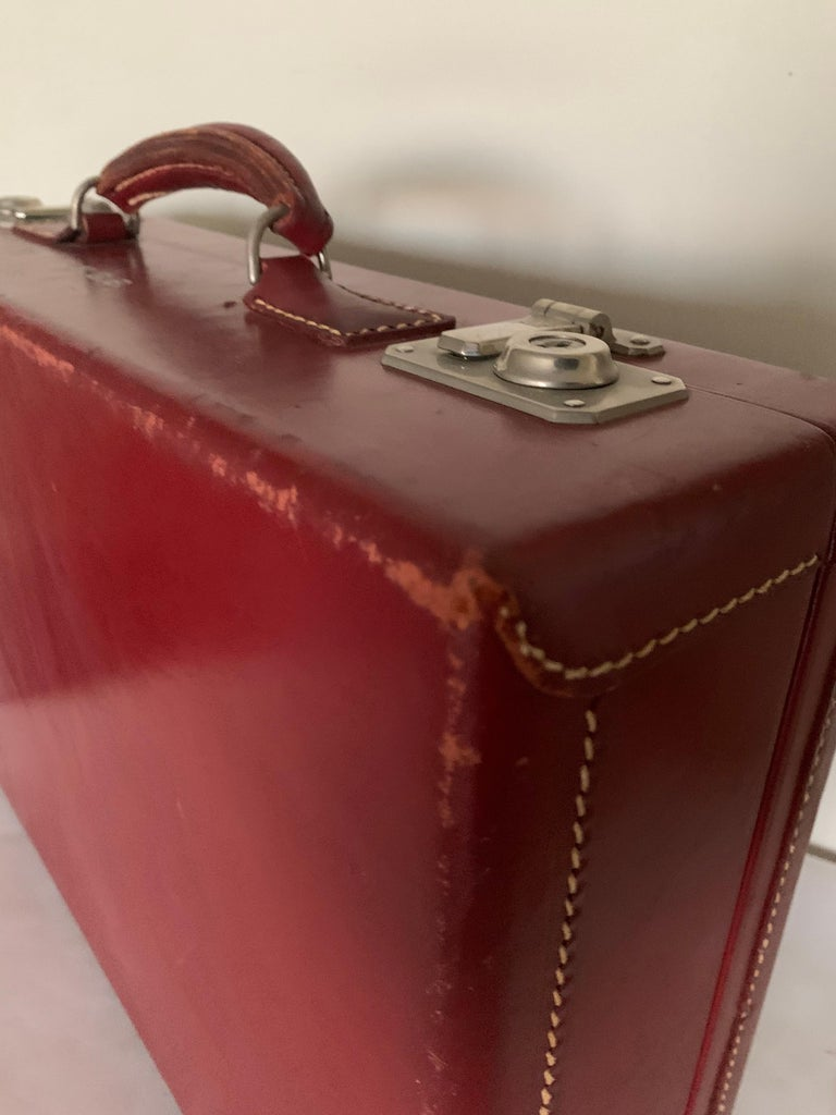 1950s Mark Cross Red Leather Suitcase For Sale 1