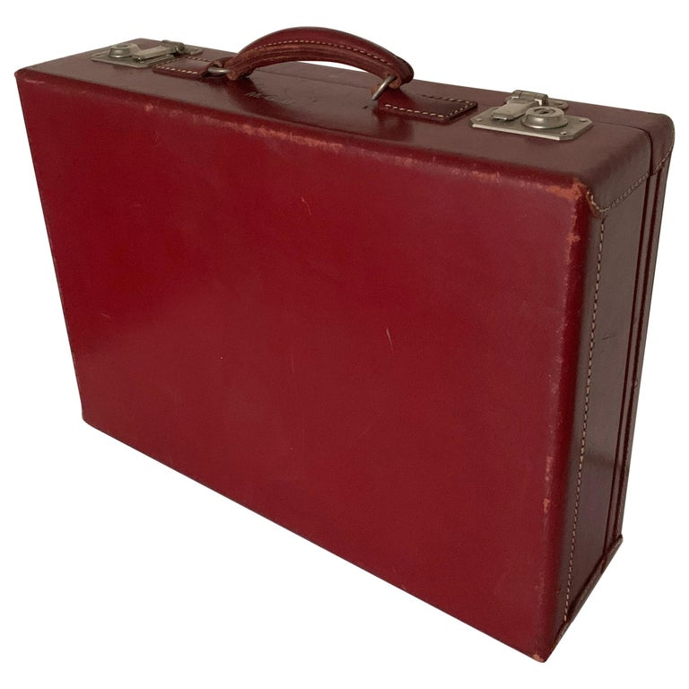 1950s Mark Cross Red Leather Suitcase For Sale