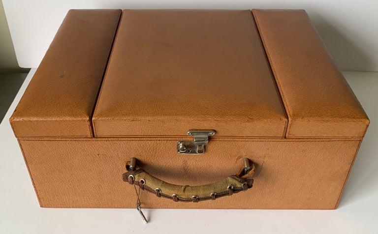 Modern 1950s Mark Cross Tan Leather Travel Dual Vanity Train Case For Sale