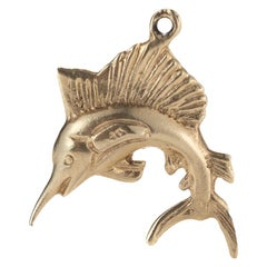 1950s Marlin Fish Charm in 14 Karat Yellow Gold