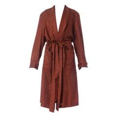 1950S Maroon Foulard Rayon Mens Robe
