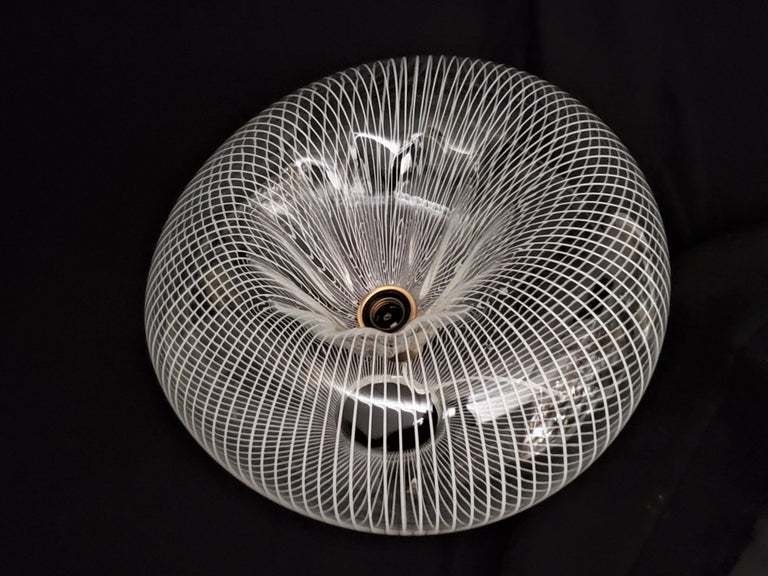 1950s Massimo Vignelli for Venini Striped Glass Table Lamp, Italy For Sale 7