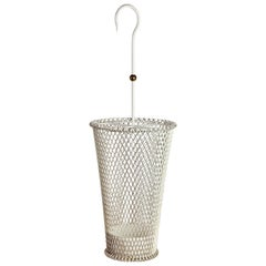 1950s Mathieu Matégot Style French White Perforated Metal Umbrella Stand/Holder
