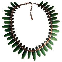 1950s Matisse Copper & Jade Green Enamel Atomic-Style Neckace