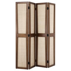 1950s MCM French Design Style Wooden And Caned Folding Screen Divider