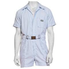 1950S BULLOCKS WILSHIRE Blue & White Pinstripe Cotton Men's Leisure Short Jumps