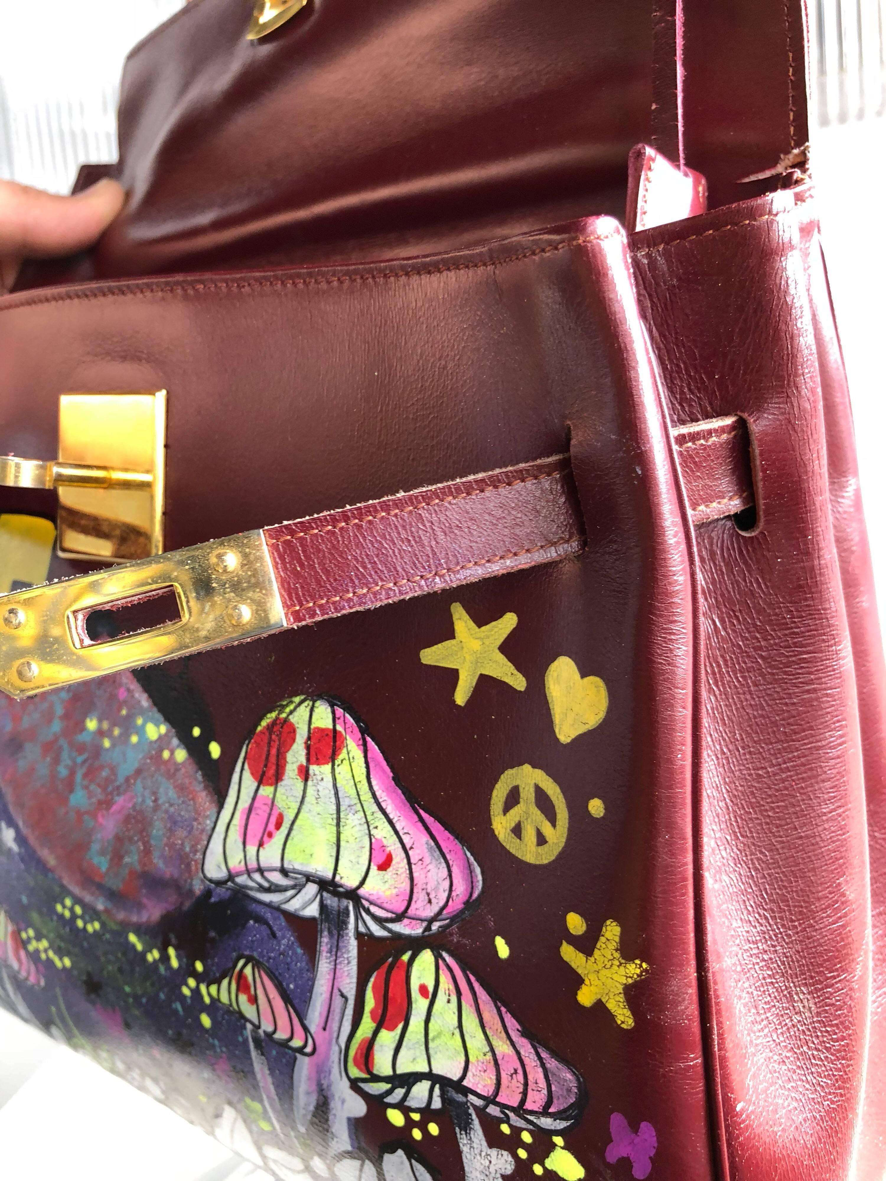 1stdibs Merlot Leather Bag With Custom Love Graffiti Art, 1950s