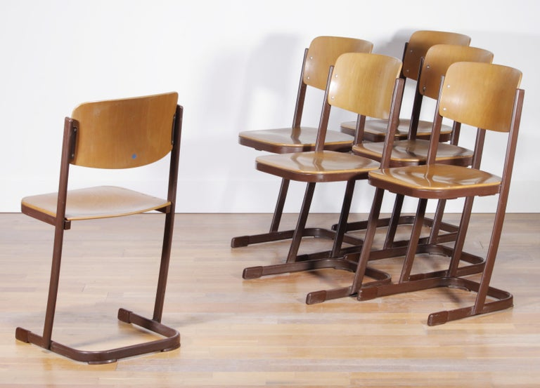 1950s, Metal And Wood Set Of Six Dutch School Chairs For