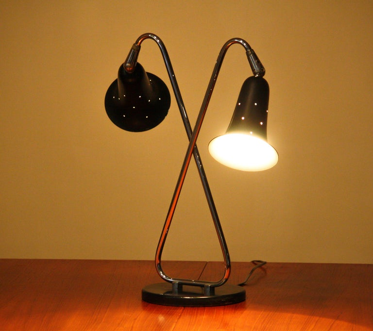 Mid-20th Century 1950s Metal Black Lacquered and Chromed Desk/Table Lamp Made in the USA