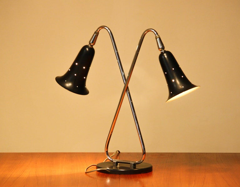 1950s Metal Black Lacquered and Chromed Desk/Table Lamp Made in the USA 3