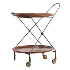 1950s Metal Foldable Serving Trolley / Tray Table for Åry Fanérprodukter Nybro