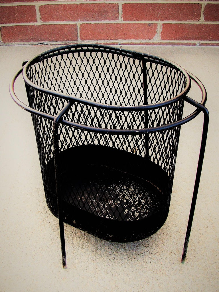 1950s Metal Waste Paper Baskets by Maurice Duchin French-American In Fair Condition For Sale In Denver, CO