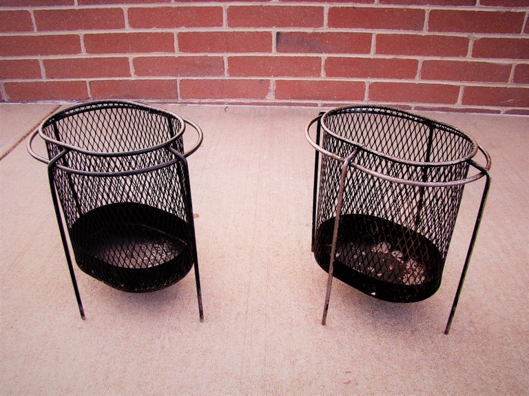 20th Century  1950s Metal Waste Paper Baskets by Maurice Duchin French-American For Sale