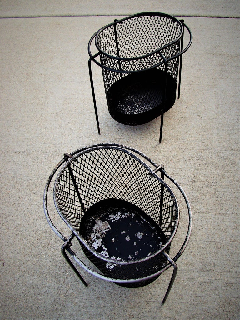 1950s Metal Waste Paper Baskets by Maurice Duchin French-American For Sale 1