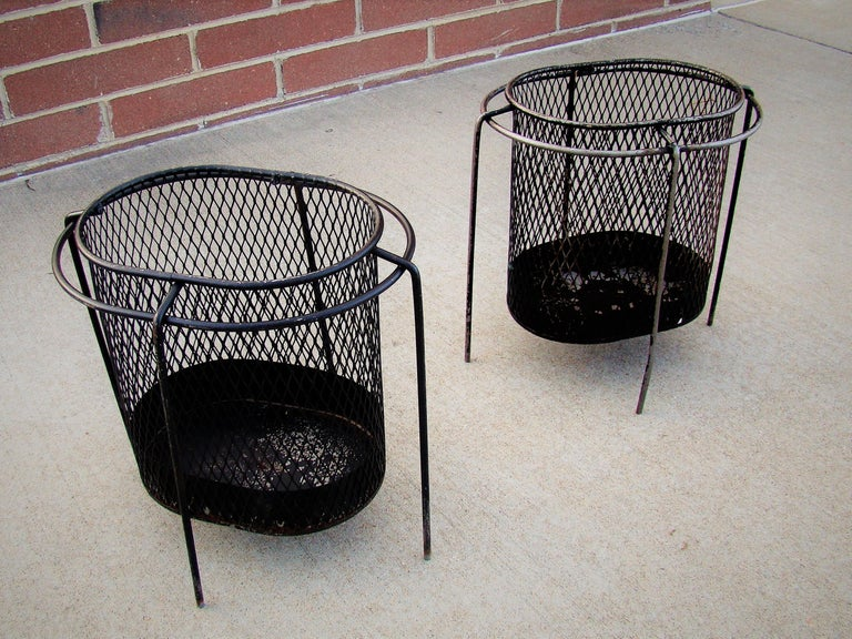 1950s Metal Waste Paper Baskets by Maurice Duchin French-American For Sale 3