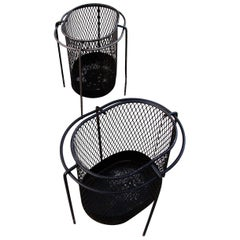 1950s Metal Waste Paper Baskets by Maurice Duchin French-American
