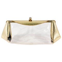 1950s Metallic Gold and Clear Plastic Clutch